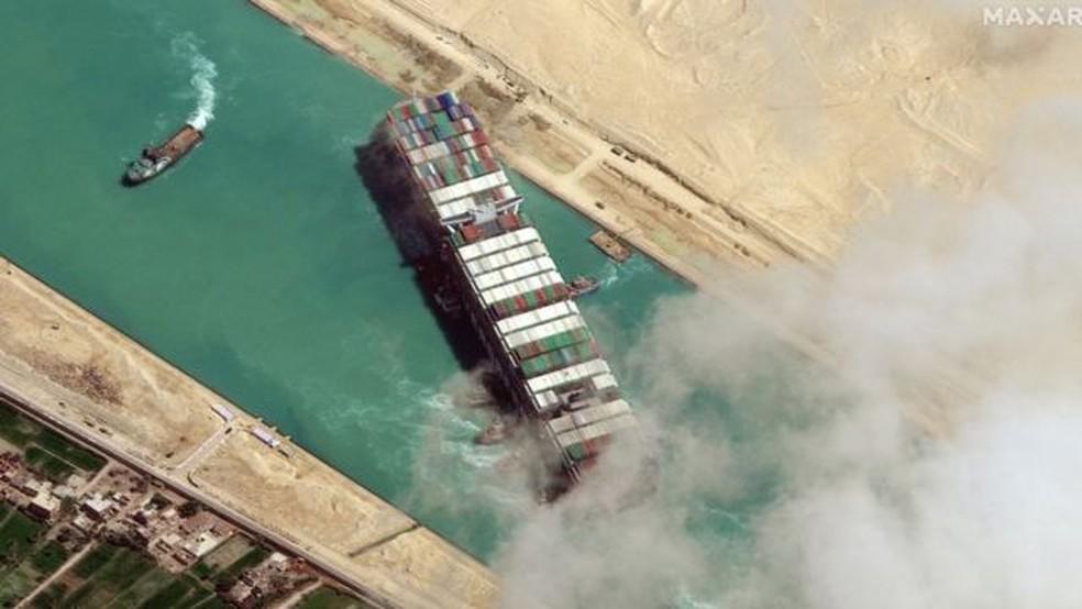O cargueiro de 400 metros Ever Given ficou preso diagonalmente no Canal de Suez em 23 de março por quase uma semana, causando o bloqueio de uma das principais rotas marítimas comerciais do mundo — Foto: Getty Images/BBC