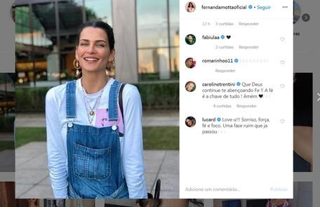 Fernanda Motta ganha o apoio de Fabiula Nascimento e Caroline Trentini, que disse: 'Que Deus continue te abençoando Fe !! A fé é a chave de tudo' Reprodução/Instagram