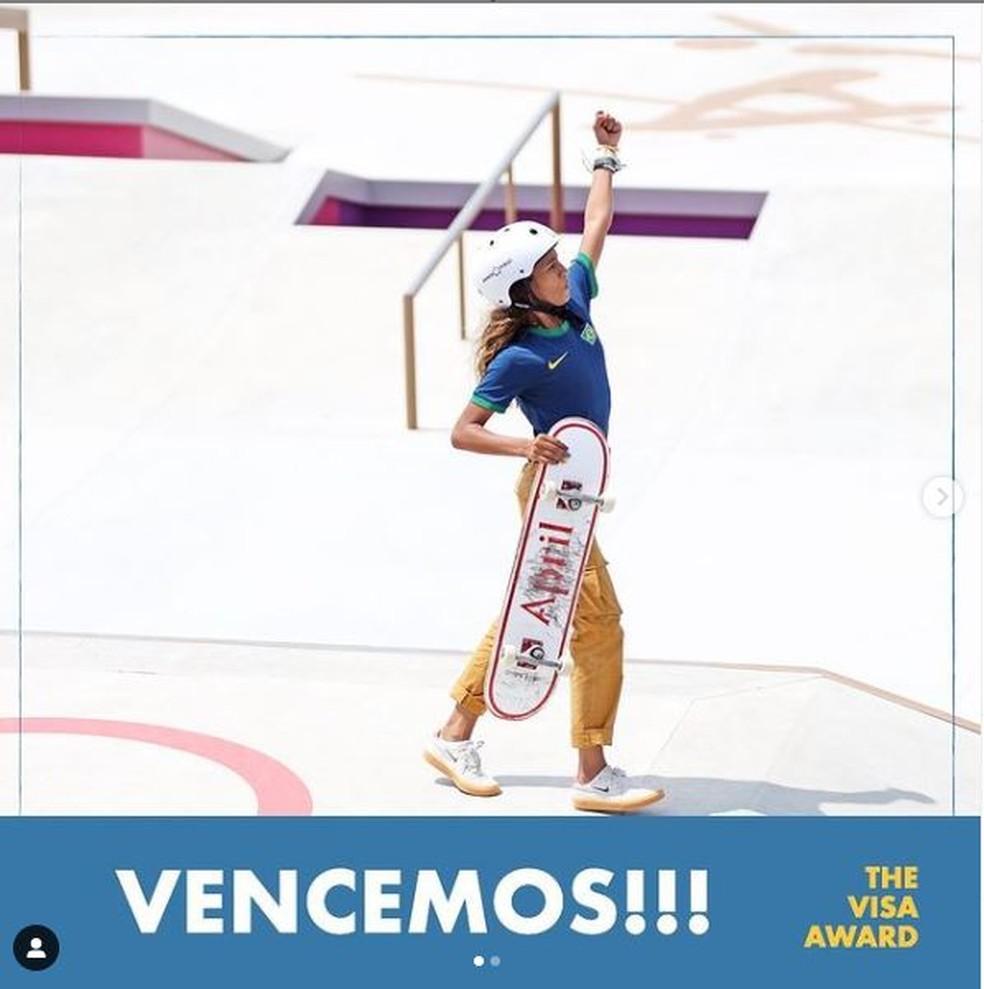 """Rayssa Leal conquista prêmio do COI pelo seu """"Espírito Olímpico"""" nos jogos de Tóquio — Foto: Divulgação/Instagram"""