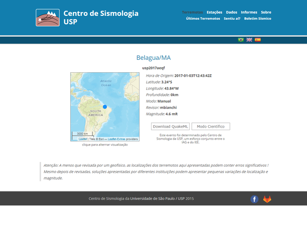 Centro de Sismologia da Universidade de São Paulo apontou um tremor de terra no MA (Foto: Reprodução)