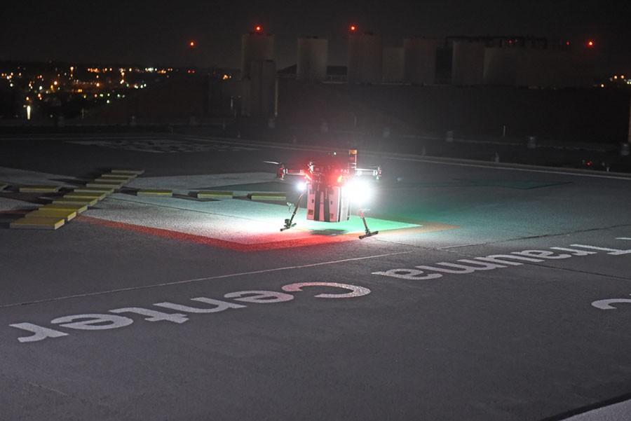Drone que transportava rim aterrisa na Universidade de Maryland (Foto:  Divulgação/Universidade de Maryland School of Medicine)