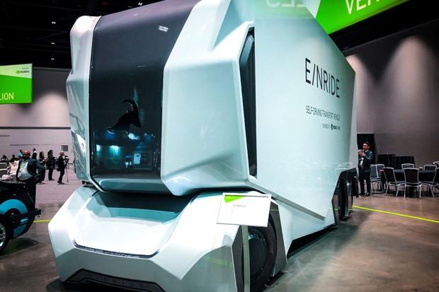 Einride mostra caminhao autônomo elétrico com capacidade para até 18 toneladas (Foto: Ricardo Sant'Anna)