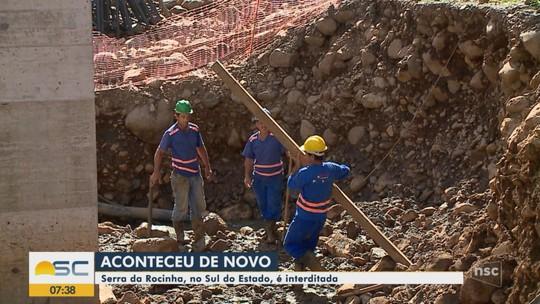 Serra da Rocinha é interditada para obras de pavimentação no Sul catarinense
