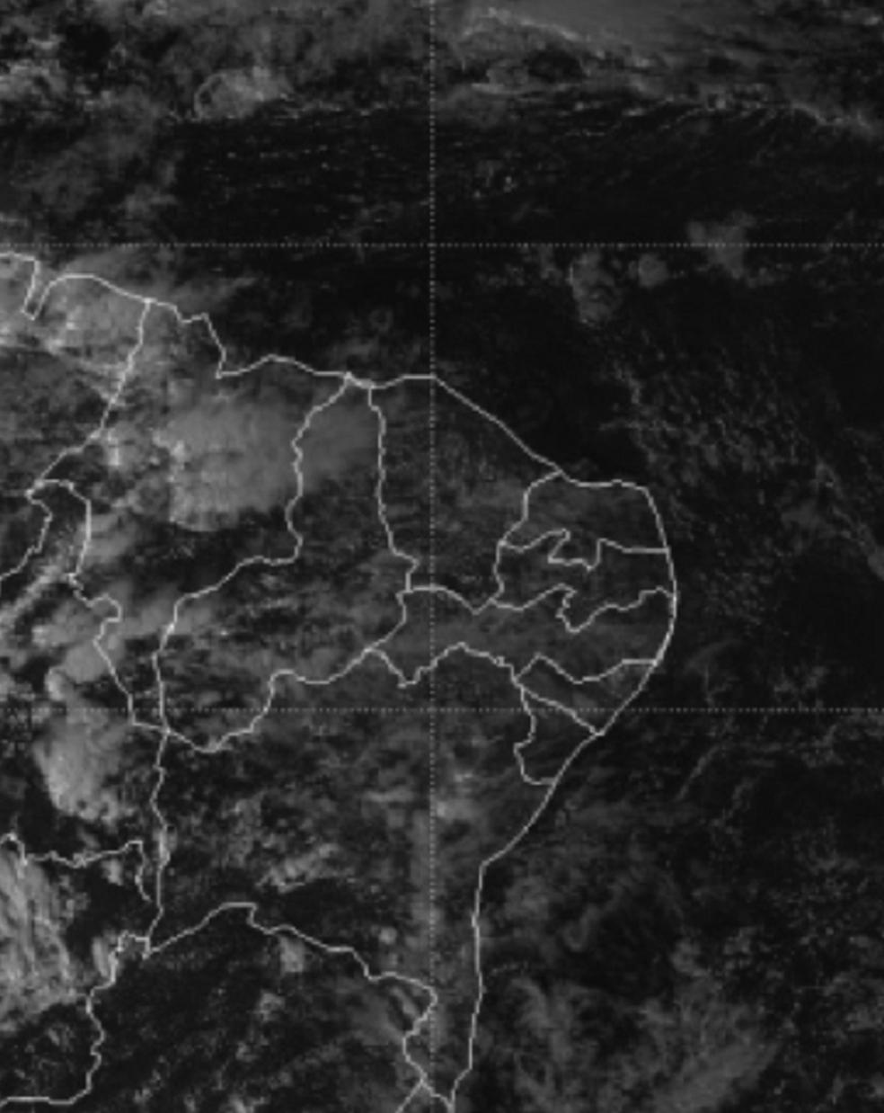 Na imagem do satélite, observa-se nebulosidade sobre o estado do Ceará. (Foto: CPTEC/INPE/DSA.)