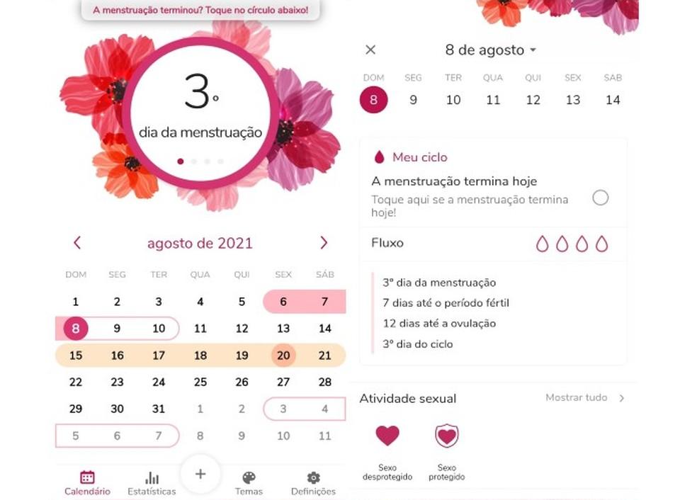 App Calendário do período auxilia no controle da menstruação — Foto: Reprodução/Marcela Franco