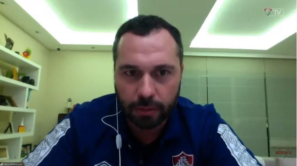 Mário Bittencourt se mostrou contrário ao retorno do Carioca em junho — Foto: Reprodução / FluTV