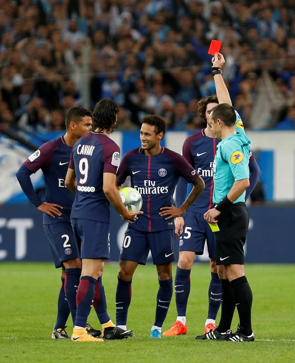 Neymar é expulso  durante Olympique de Marselha x PSG (Foto: Reuters)
