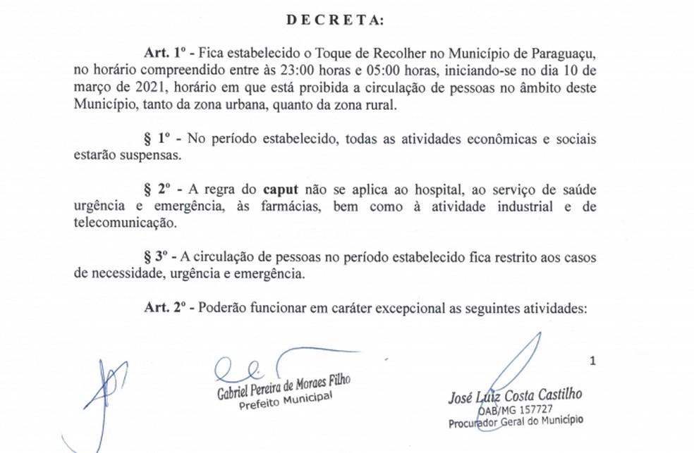 Prefeitura de Paraguaçu determina toque de recolher na cidade — Foto: Reprodução/Prefeitura de Paraguaçu
