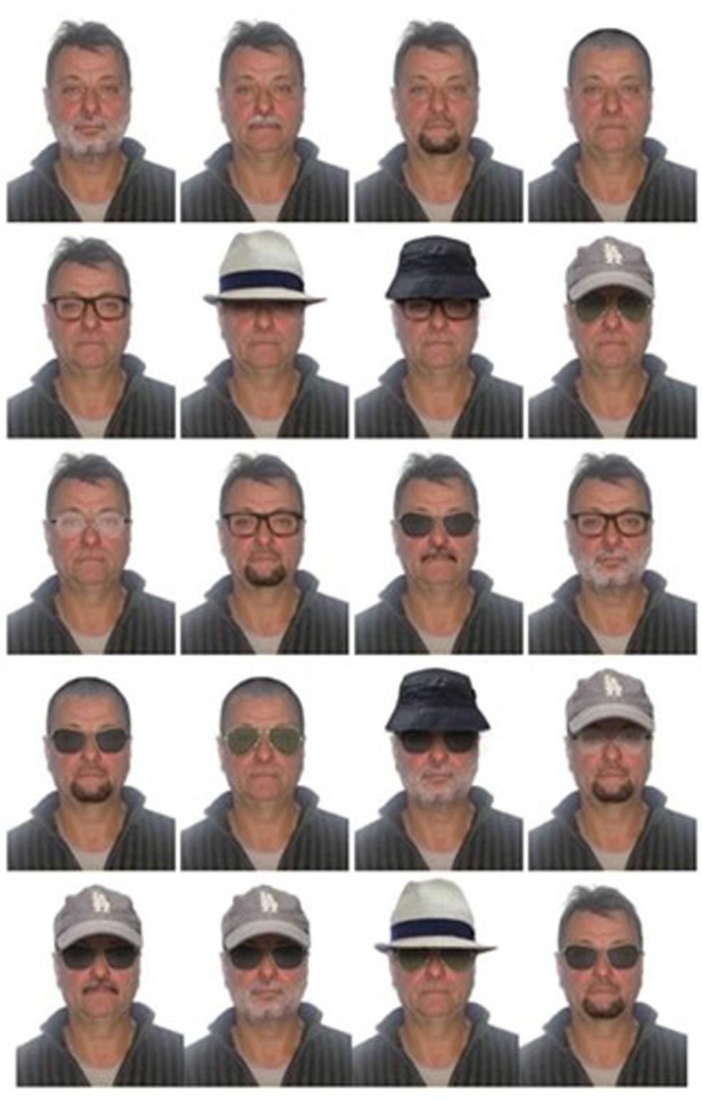 Polícia Federal divulgou simulações de possíveis disfarces de Cesare Battisti — Foto: Divulgação/Polícia Federal
