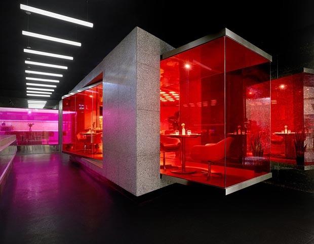 Restaurante futurista na China encanta pela iluminação e cores intensas  (Foto: Reprodução)
