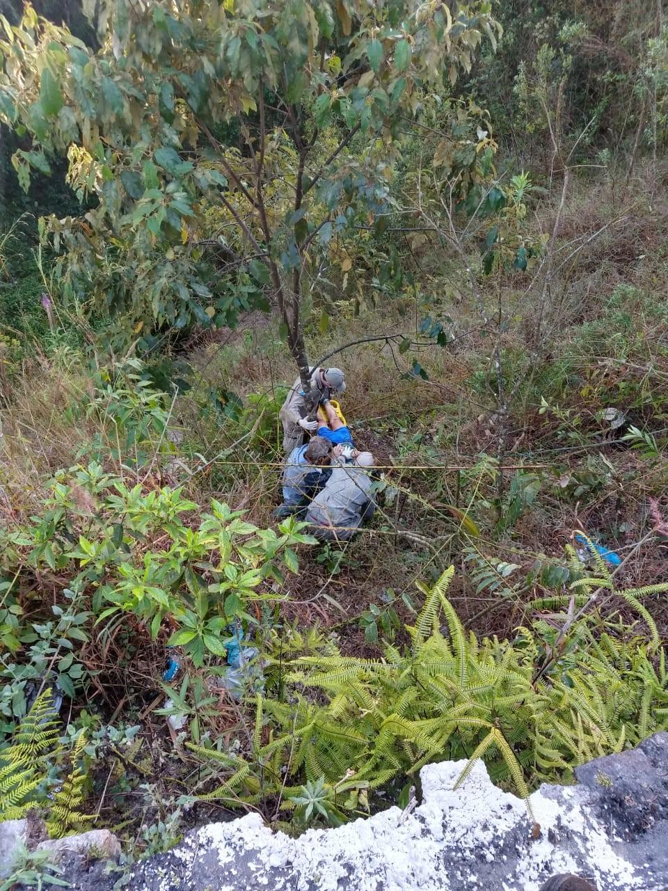 Idoso fica ferido após ser atropelado, cair de ribanceira de 4 metros e ficar preso em vegetação na RJ-142