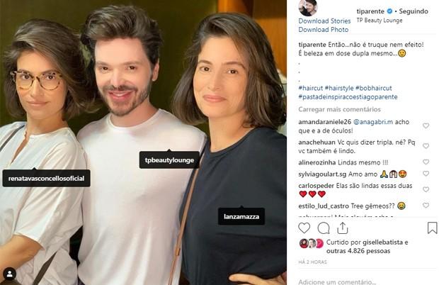 Renata Vasconcellos, Tiago Parente e a irmã gêmea, Lanza Mazza (Foto: Reprodução/Instagram)