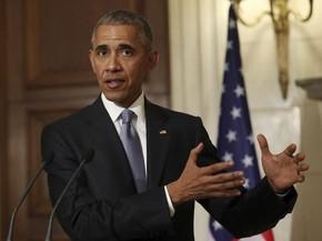 Obama durante coletiva de imprensa em Atenas, na Grécia (Foto: AP Photo/Yorgos Karahalis, Pool)