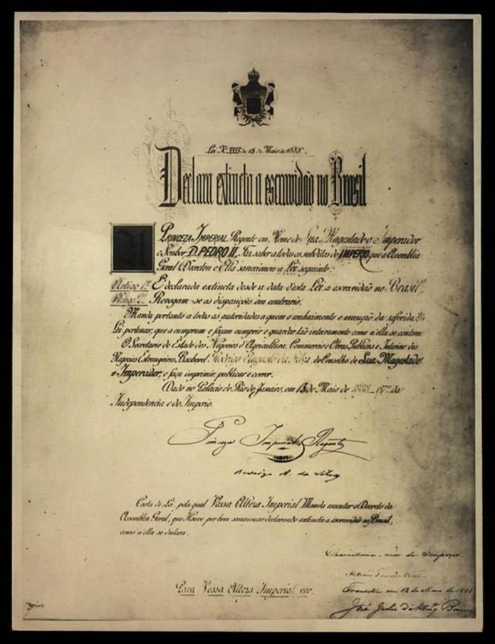 Lei Áurea excluiu uma série de dispositivos reivindicados pelos abolicionistas, entre eles a distribuição de terras aos alforriados — Foto: Acervo Biblioteca Nacional