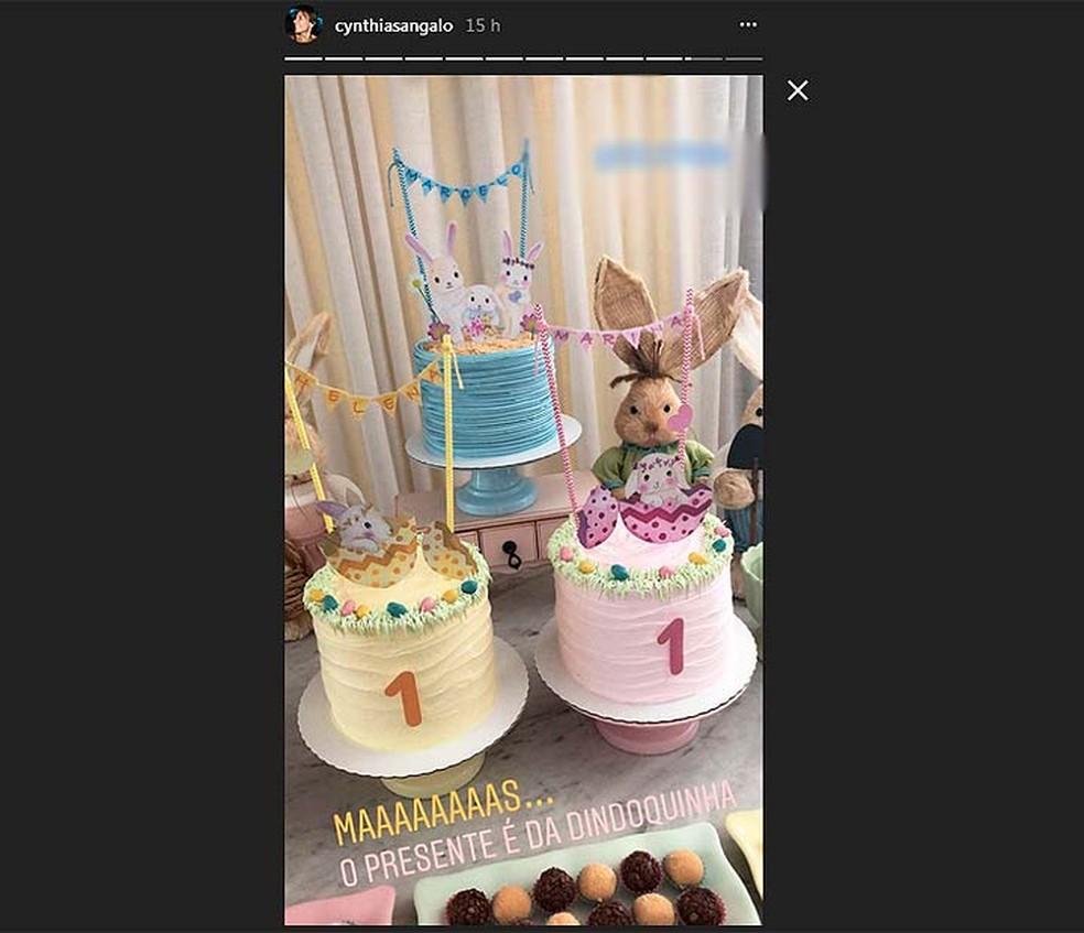 Gêmeas de Ivete ganham bolo no primeiro mês de vida (Foto: Reprodução/Instagram)
