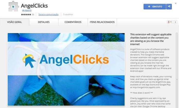 AngelClicks sugere instituições conforme conteúdo que você vê na web (Foto: Reprodução/Chrome Web Store)