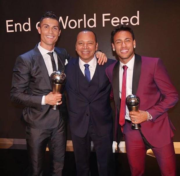 Cristiano Ronaldo com o Neymar pai e filho (Foto: Reprodução/Instagram)