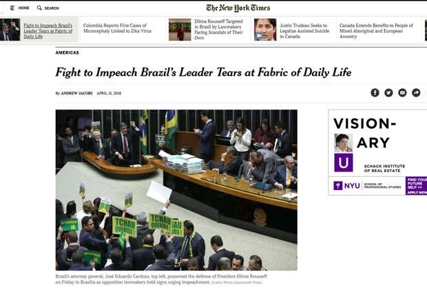 Reportagem do NYT sobre o clima de disputa no país. (Foto: Reprodução/NYT)