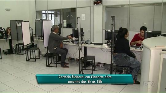 Cartório Eleitoral de Cianorte abre neste domingo para cadastro da biometria