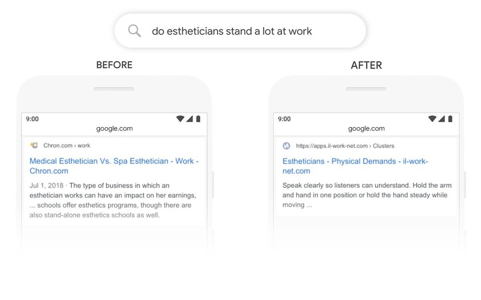 Comparação mostra diferença de resultados entre os algoritmos — Foto: Divulgação/Google