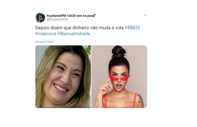 Para usuária do Twitter, nova condição financeira ajudou a carioca a melhorar sua imagem (Foto: Reprodução/Twitter)