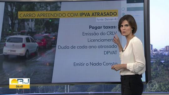 Dentran-RJ muda regras para a retirada de veículos apreendidos que estão com o IPVA atrasado