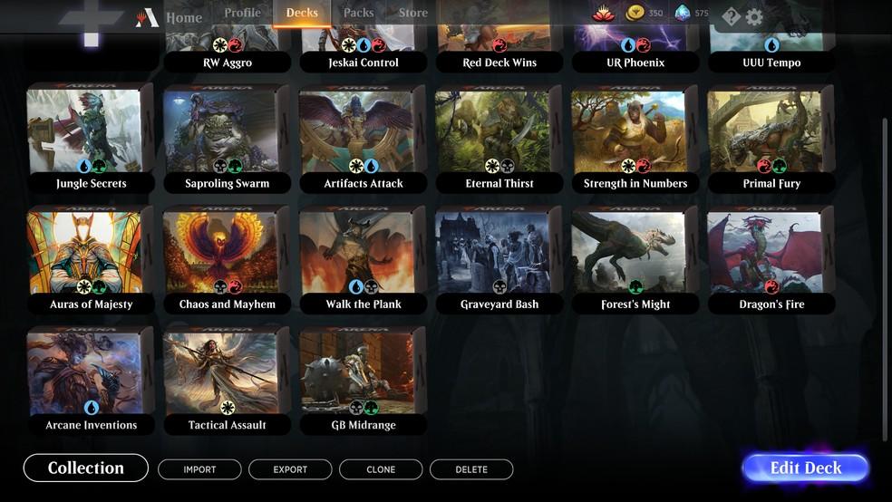 Escolha um dos seus decks em Magic Arena para jogar — Foto: Reprodução/Murilo Molina