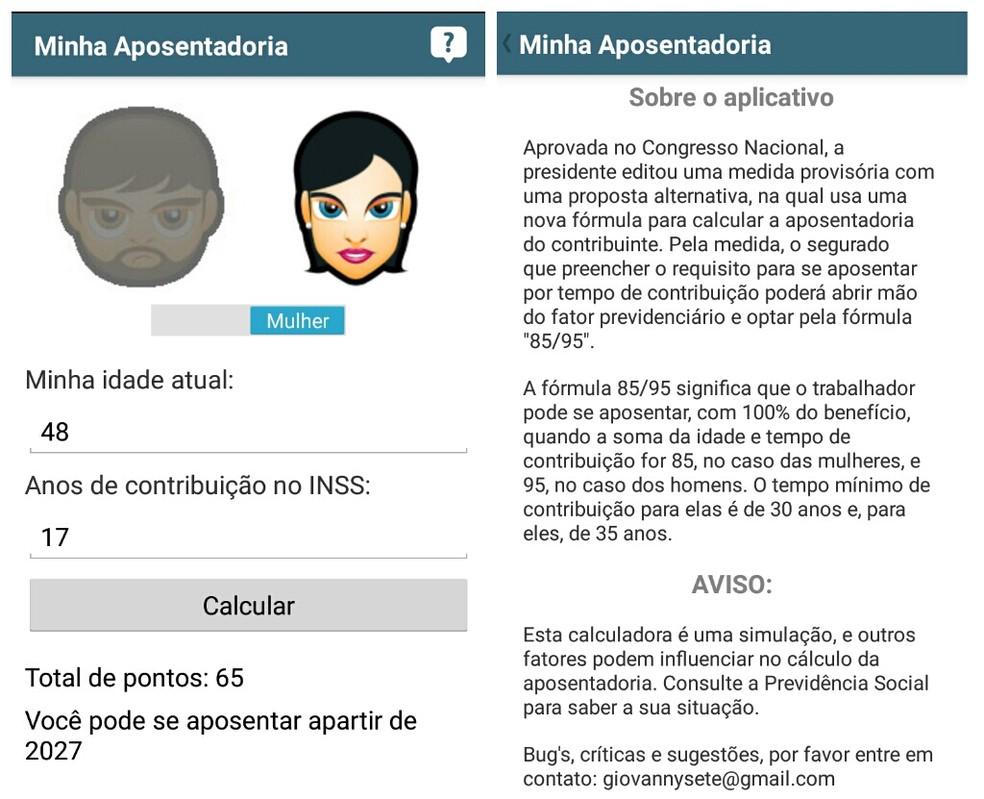 Principal funcionalidade do app é oferecer o cálculo diferenciado para mulheres e homens — Foto: Reprodução/Daniel Dutra