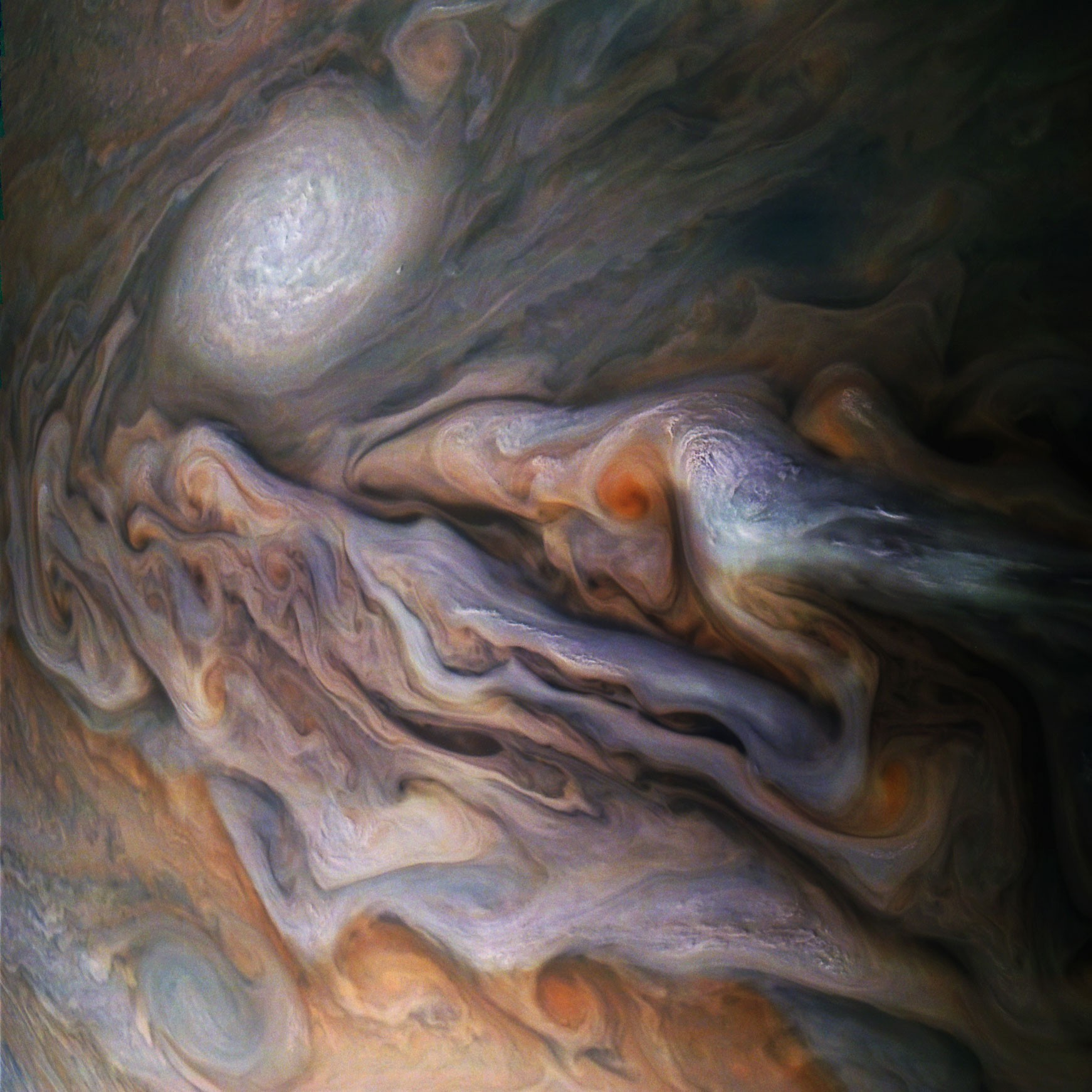 Na parte superior esquerda é possível ver a tempestade registrada em Júpiter (Foto: Divulgação/ NASA)