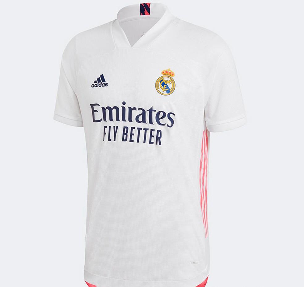 Primeiro uniforme do Real Madrid para 2020/21 — Foto: Divulgação