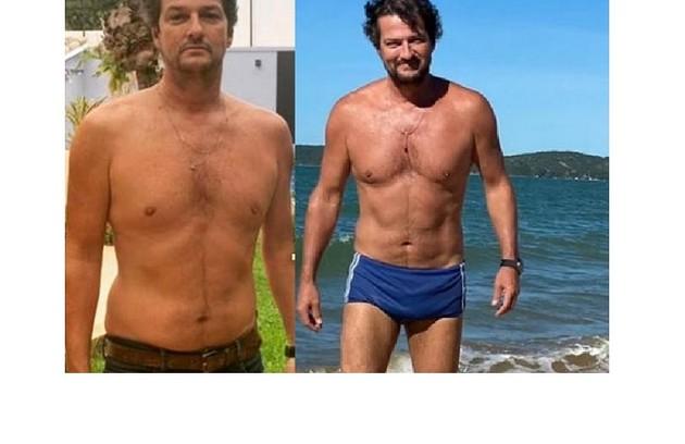 Marcelo Serrado perdeu seis quilos para seu personagem em 'Cara e coragem', com exercícios: 'Jogo tênis três vezes por semana' (Foto: Reprodução)