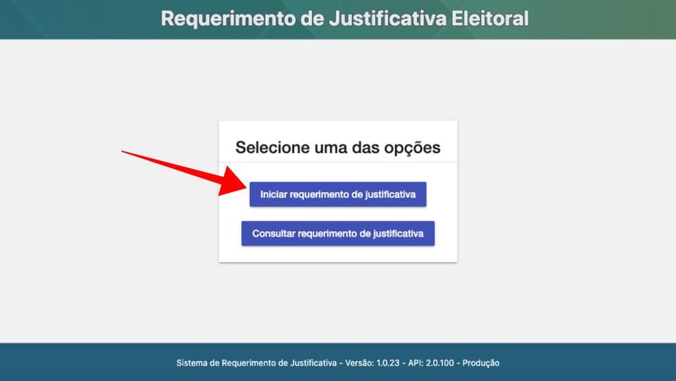 Inicie um novo procedimento de justificativa de voto no site do TSE — Foto: Reprodução/Paulo Alves