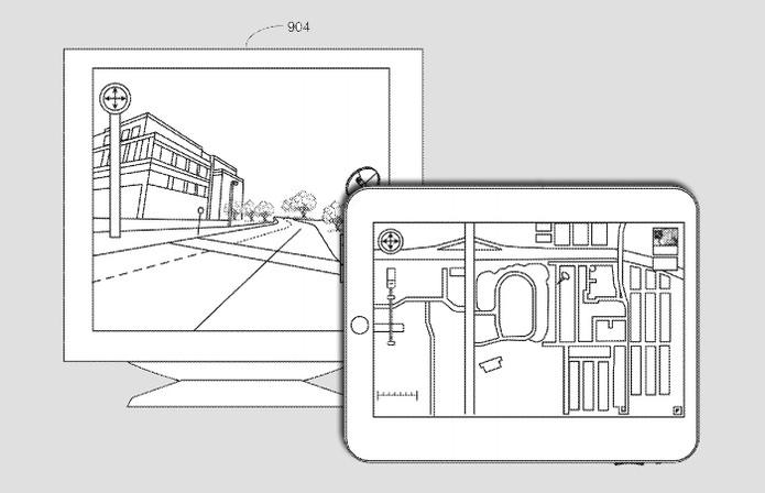 Nesta patente, iPad é usado para mostrar mapa, enquanto a TV é usada como o Street View do Google (Foto: Arte / TechTudo / USPTO)