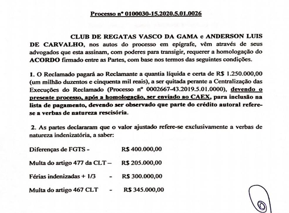 Trecho do acordo do Vasco com Nenê enviado à Justiça — Foto: Reprodução