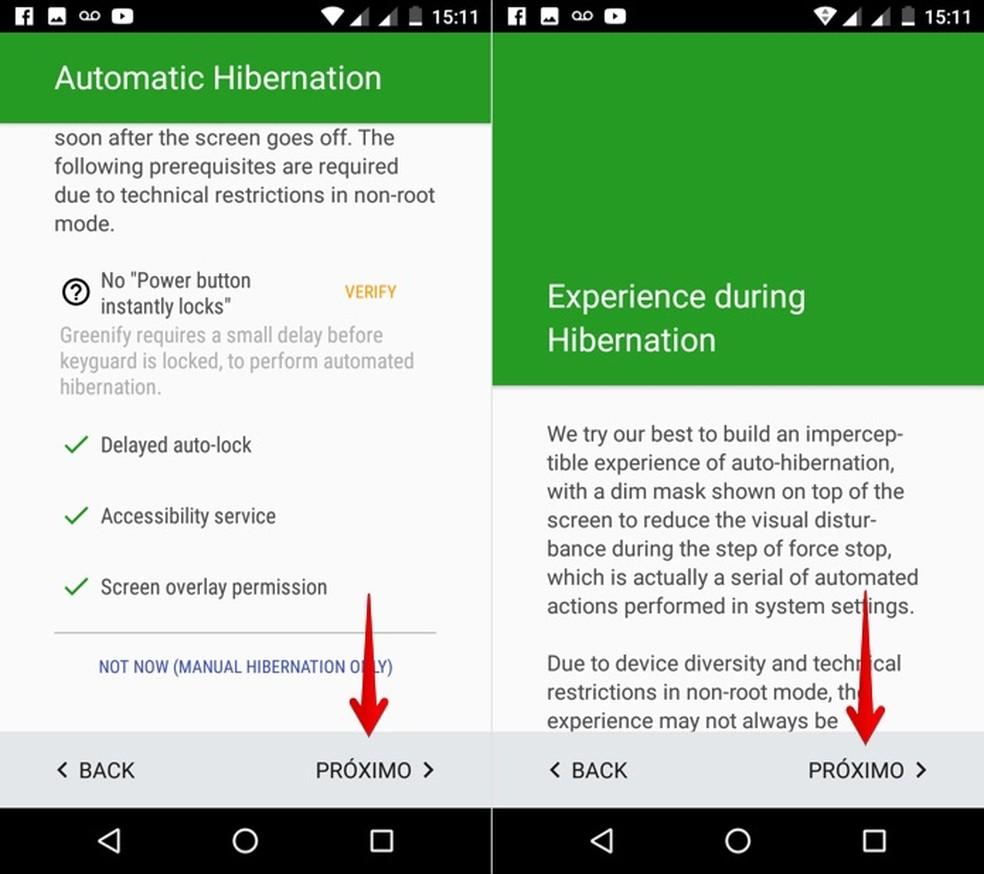 Avance o assistente de configuração do Greenify (Foto: Reprodução/Helito Bijora)