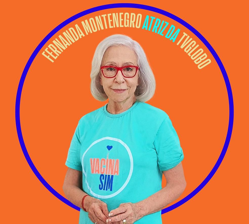 Fernanda Montenegro participa da campanha 'Vacina sim' — Foto: Divulgação