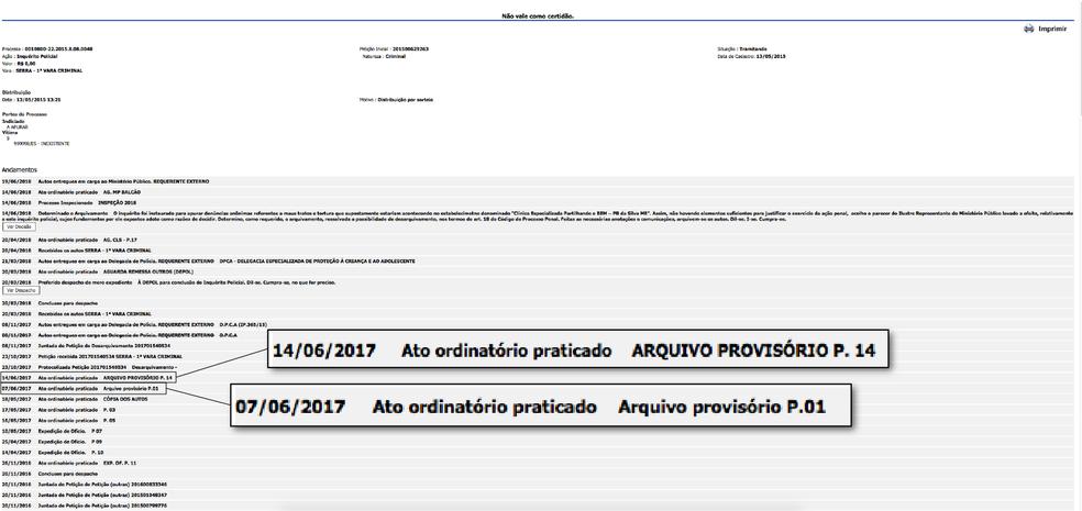Advogado entrou com uma petição a pedido da reportagem para desarquivar processo  (Foto: Reprodução / Consulta processual do TJES)