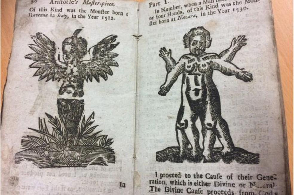 De acordo com o livro, uma criança nasceu em 1512 com penas e um pé de galinha no lugar das pernas  (Foto: Hanson's Auction House/Divulgação)