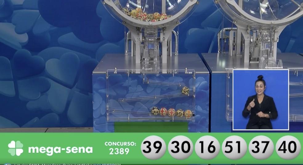 Mega-Sena, concurso 2.389: resultado — Foto: Reprodução/Internet