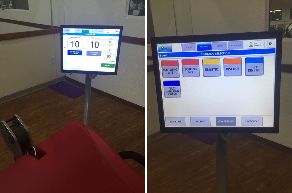 Tela de computador acoplada ao Kineo mostra resultados em tempo real (Foto: Thiago Lima)