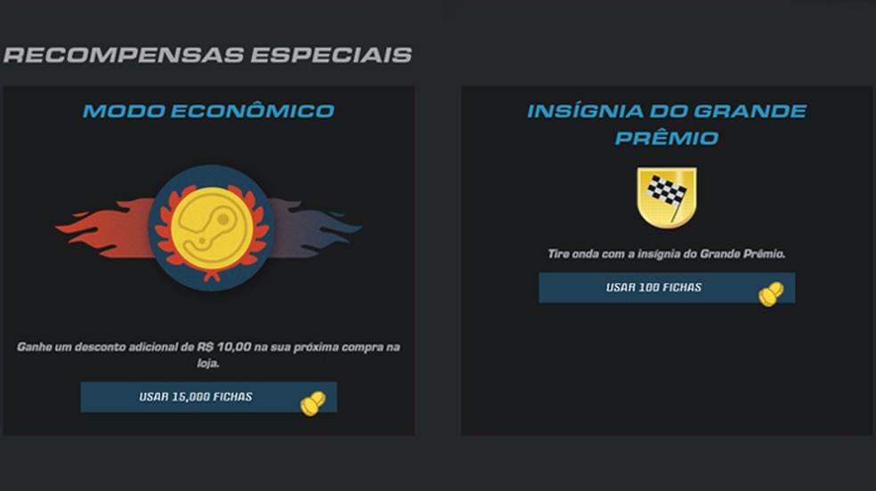 Após gastar pontos e obter fichas, elas podem ser trocadas por recompensas individuais na página do Pit Stop — Foto: Reprodução/Rafael Monteiro