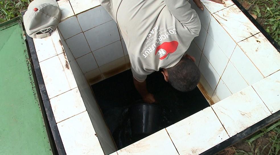 Comerciantes usam baldes na tentativa de coletar água na Ceasa — Foto: Reprodução/TV Mirante