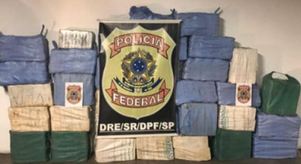 Droga apreendida em Biritiba Mirim (SP) durante investigação da Polícia Federal em SC — Foto: PF/Divulgação