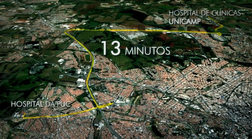 Policiais militares fizeram o trajeto de 22km entre um hospital e outro em Campinas (SP) em 13 minutos (Foto: Reprodução/EPTV)