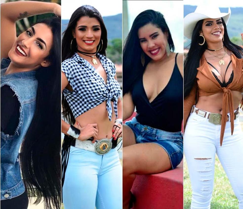 Mayara Thaís, Nayally dos Anjos, Renata Mendes e Theila Sabrina estão entre as candidatas ao concurso de rainha da vaquejada (Foto: Alan Cerqueira/Divulgação)