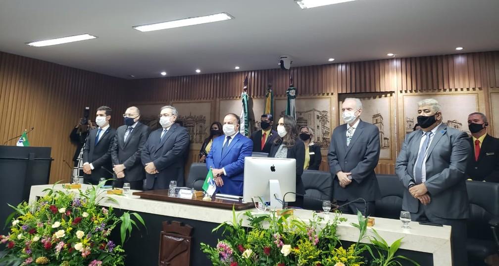 Álvaro Dias (PDT) tomou posse nesta sexta (1º) na Câmara Municipal de Natal — Foto: Carla França/Assessoria PMN