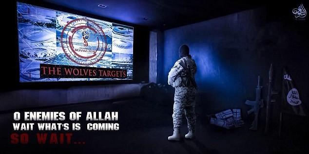 O material divulgado pelo grupo terrorista Estado Islâmica com uma ameaça à Copa do Mundo (Foto: Reprodução)