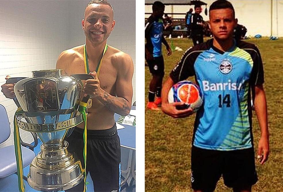 Guilherme no Grêmio em dois momentos: campeão da Copa do Brasil em 2016 e na base do Tricolor  (Foto: infoesporte)