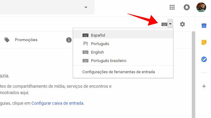 Gmail permite selecione o idioma de escrita de mensagens (Foto: Reprodução/Paulo Alves)