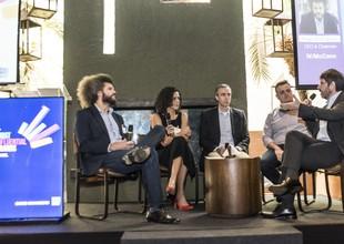 Hugo Rodrigues (W/McCann), Adriana Gomes (Uber), Fernando Chacon (Itaú) e Conrado Leister (Facebook) (Foto: Divulgação/Ipsos)